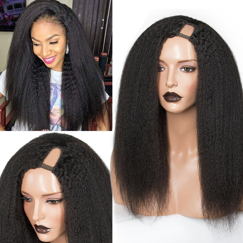 Kinky Straight U Part Wig Side Part 100% Human Hair Wig