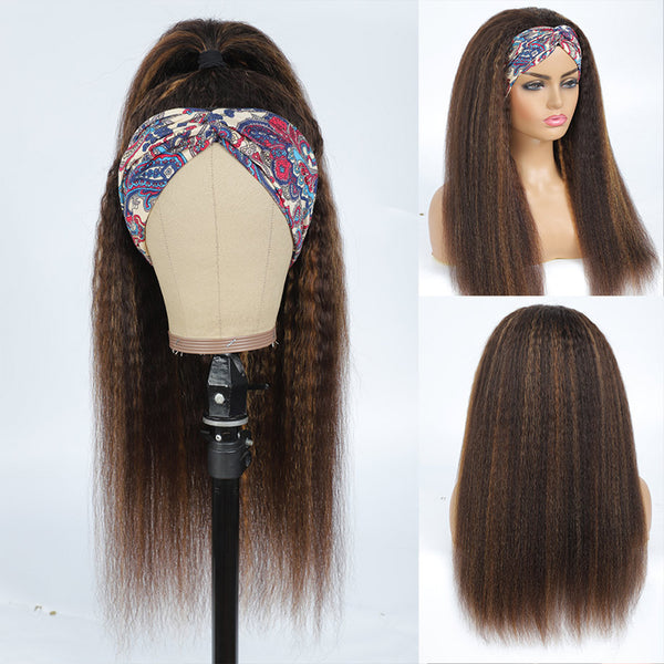 MICHELLE Highlighted Kinky Straight Headband Wig Human Hair Wig