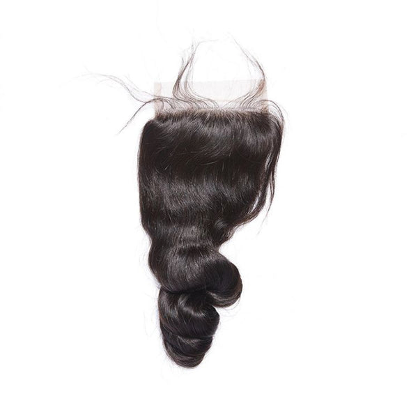 4×4 Lace Closure Loose Wave 100% Human Hair Extensions Free Shipping