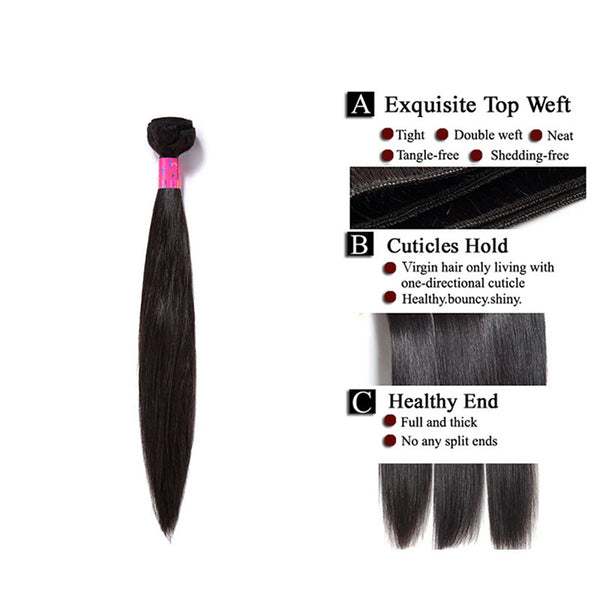 3 Bundles With a Silk Closure 4×4 Straight Hair Virgin Human Hair Extensions