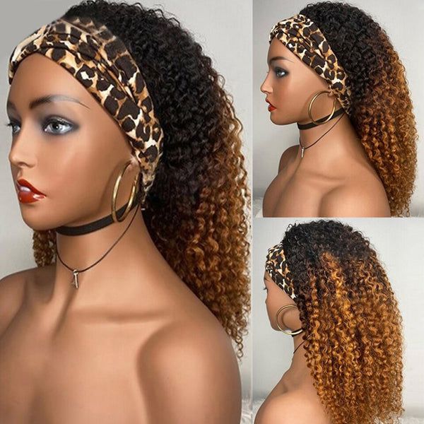 PARIS Ombre Dark roots Coffee Curly Headband Wig 100% Human Hair