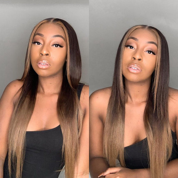 Ombre Straight Hair with Highlight Human Hair Lace Wig Pre Plucked Hairline