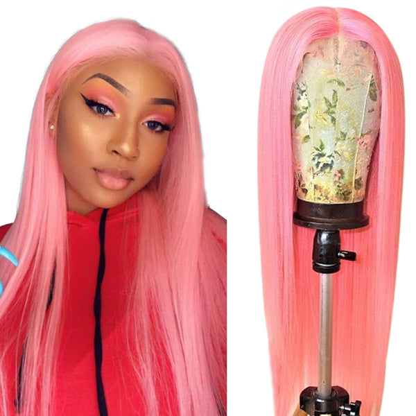 Pink Straight Lace Wig 100% Human Hair Wig