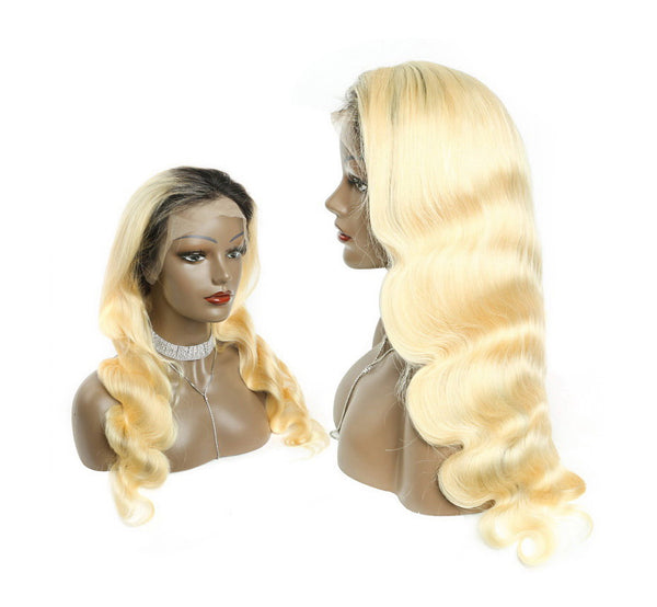 Customized #1B Roots Blonde #613 Body Wave Lace Front Wig Full Lace Wig