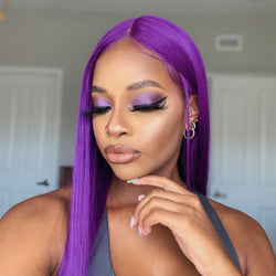 PORSHA -Purple Straight Wig Pre Plucked Human Hair Lace Wig