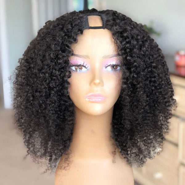 U Part Wig Kinky Curly Natural Color 100% Human Hair