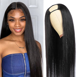 U Part Wig Straight Hair Natural Color 100% Human Hair