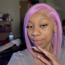 Customized Lavender Vibe Bob Lace Front Wig Full Lace Wig Human Hair Wigs