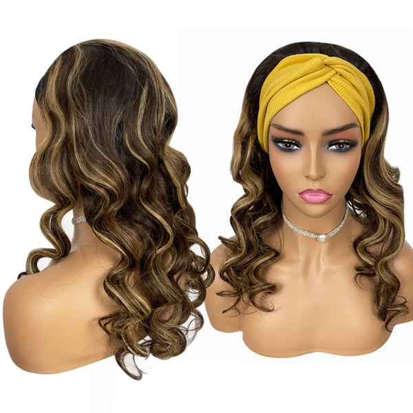 🆕 VIOLA Highlighted Loose Wave Headband Wig 100% Human Hair Wig