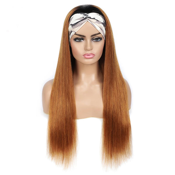 Dark roots Chestnut Straight Hair Headband Wig Human Hair Wig