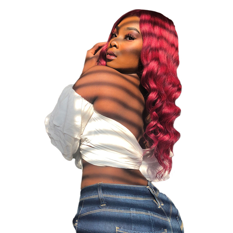 Pink Burgundy Body Wave Full Lace Wig Human Hair Extensions