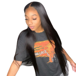 "32"" Straight 220% Density Lace Frontal Wig Lace Closure Wig Virgin Human Hair"
