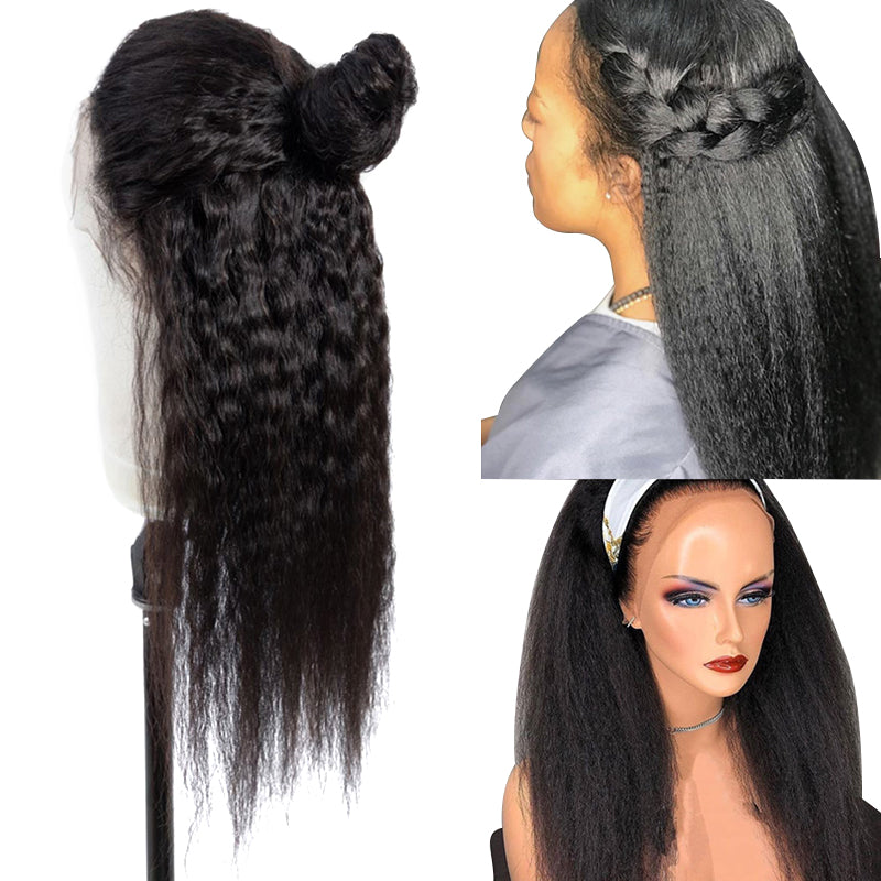 220% Density Kinky Straight Lace Frontal Wig Human Hair Lace Closure Wig