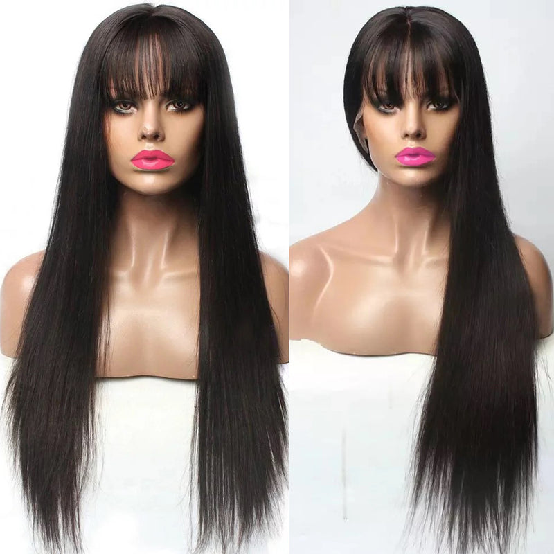 Naomi Signature Long Straight Wig with Bangs 180% Density