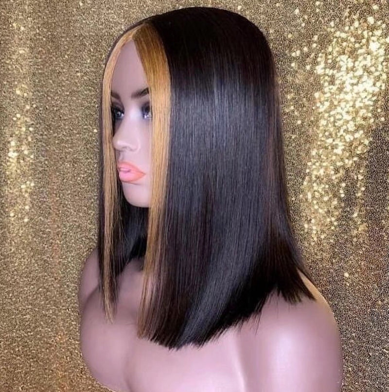 Customized Bob Wigs Highlighted 100% Virgin Hair Free Shipping Full Lace Wig Lace Front Wig