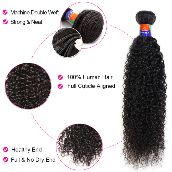 3 Bundles With a Frontal Kinky Curly Hair 100% Unprocessed Virgin Hair Extensions