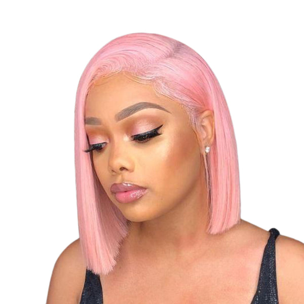 Pink Bob Wigs Lace Front Wig Full Lace Wig 100% Human Hair Wigs