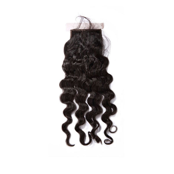 Silk Base Closure Deep Wave 100% Human Hair Extensions Free Shipping