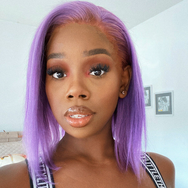 KEISHA - Customized Lavender Vibe Bob Lace Front Wig Full Lace Wig Human Hair Wigs
