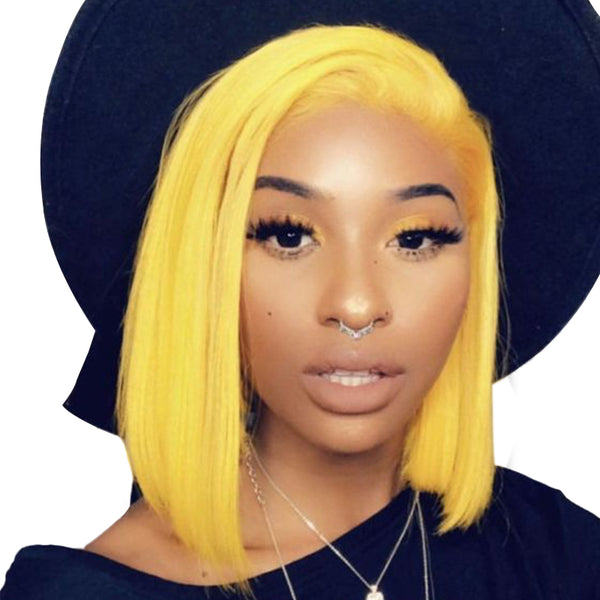 Yellow Bob Wigs Lace Front Wig Full Lace Wig 100% Human Hair Wigs