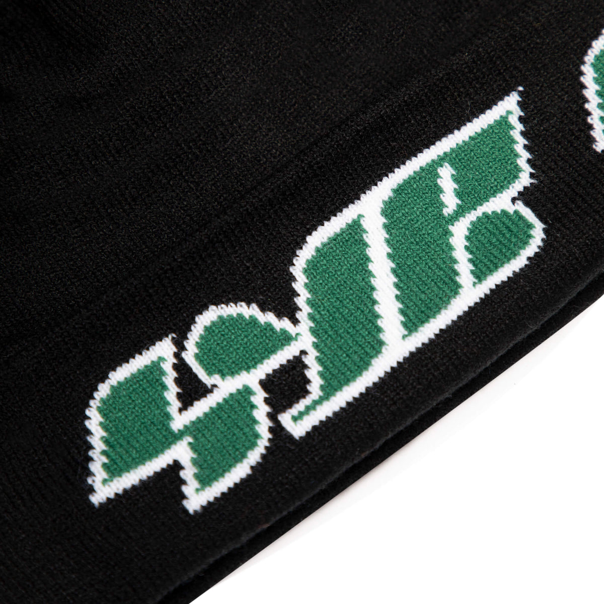black toque with green text black owned