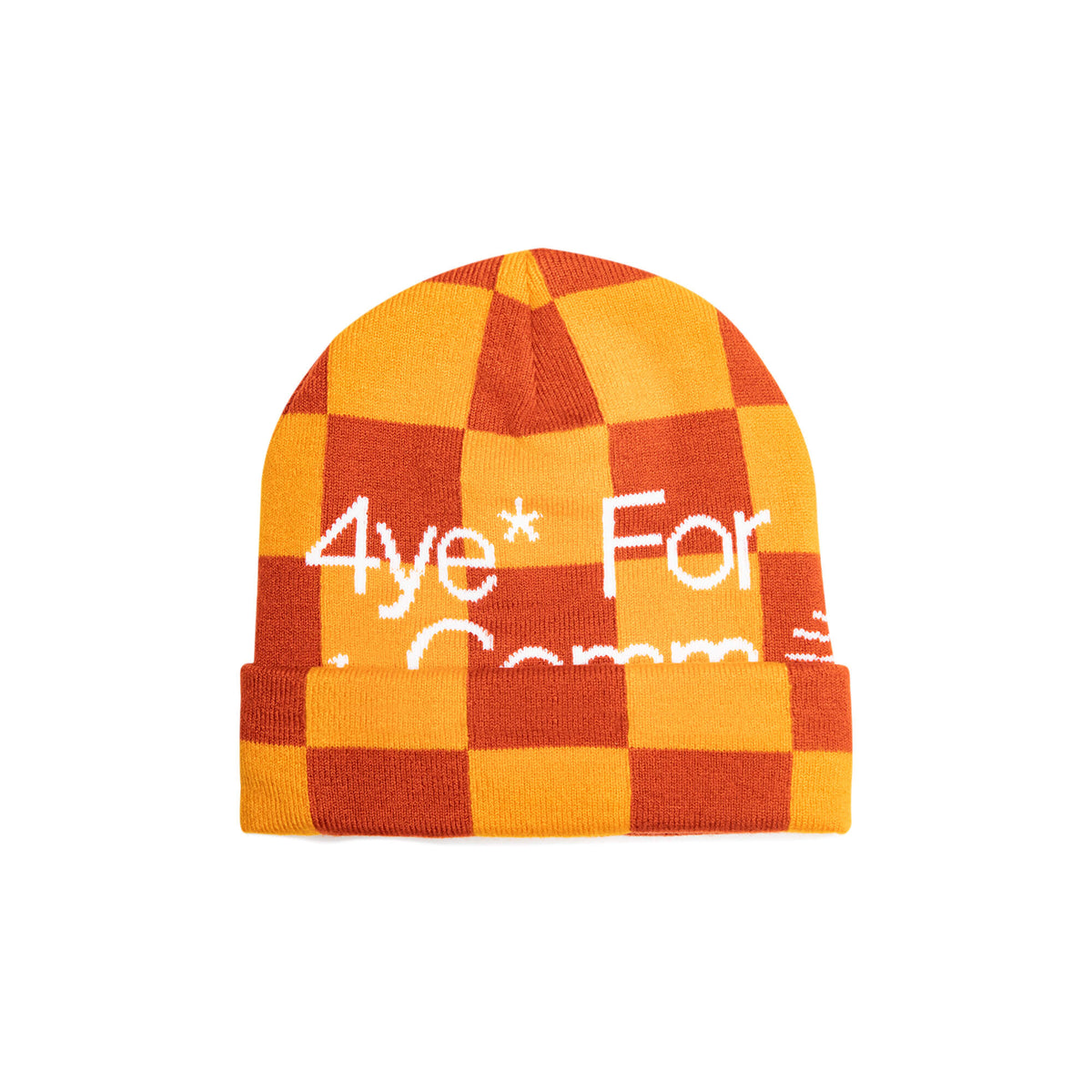 Orange beanie with white text black owned business