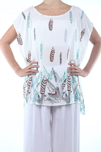 Boho Poncho Short/White Feather
