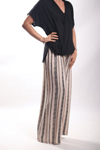 Dove Pants/V Stripe Cream Black