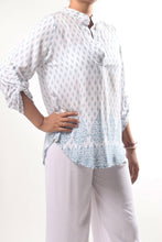 Load image into Gallery viewer, Lily Shirt/India Teal White