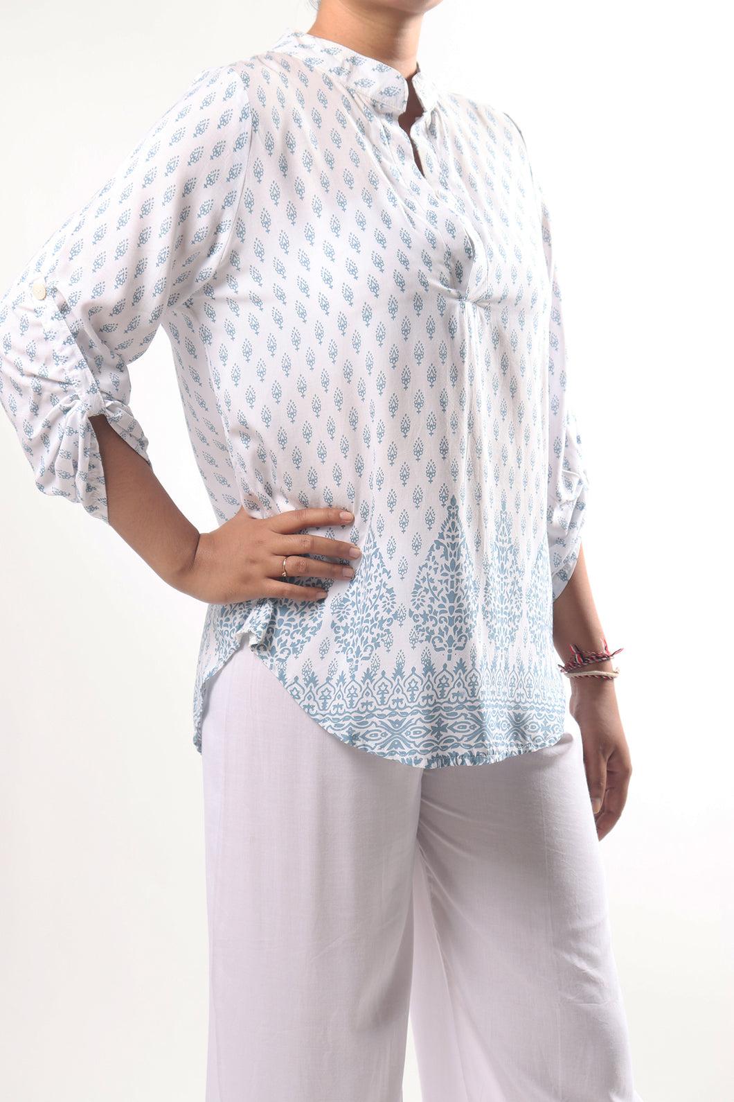 Lily Shirt/India Teal White
