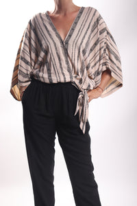 Jap Top/V Stripe Cream Black
