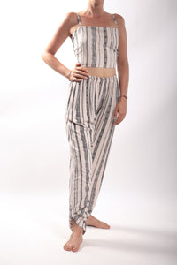 Indi Pants/V Stripe Cream Black