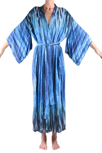 Jap Kimono Long/Blue Feather
