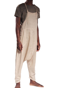 Jay Jumpsuit Plain/Tan 100% Linen