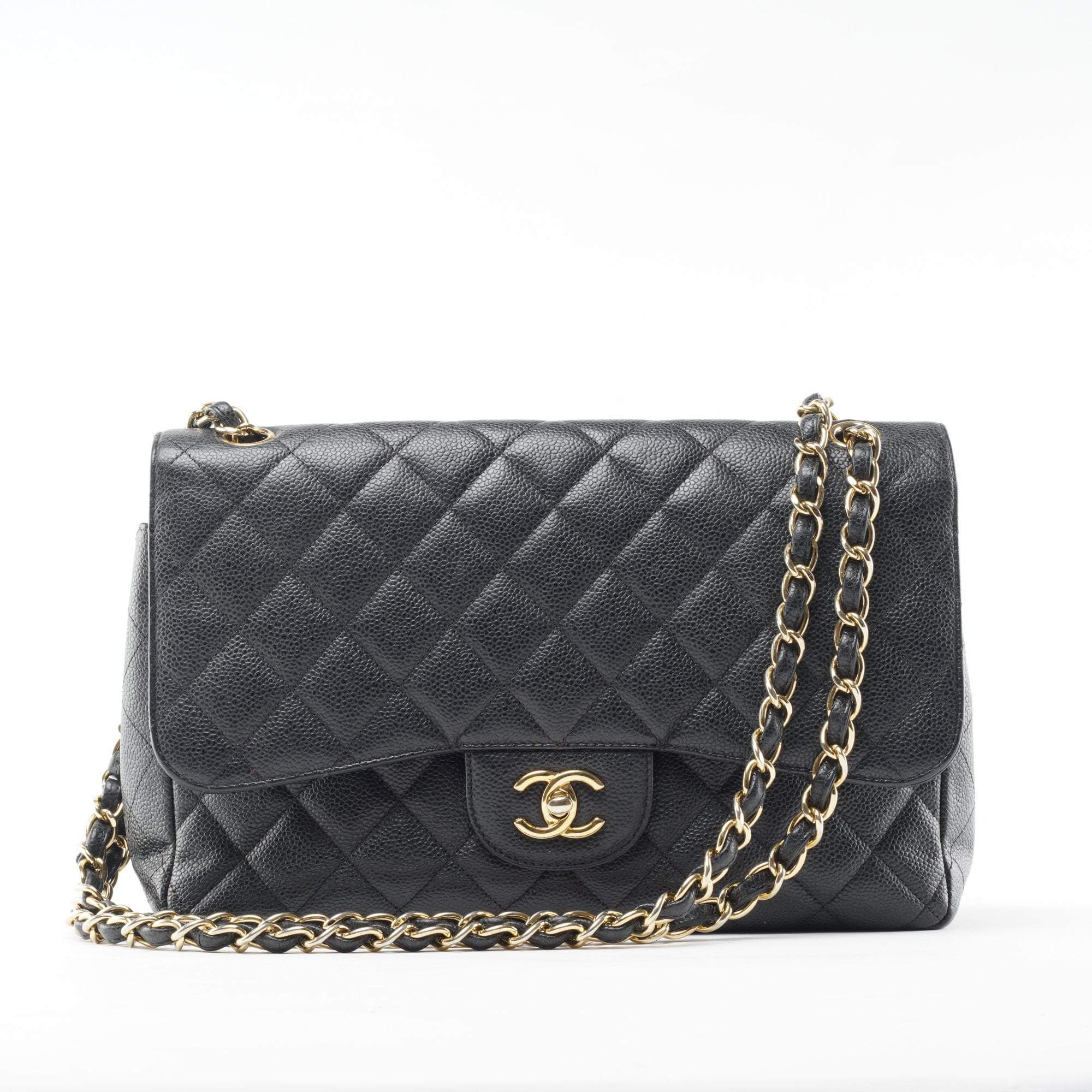 Chanel Black Quilted Caviar Jumbo Classic Double Flap Bag