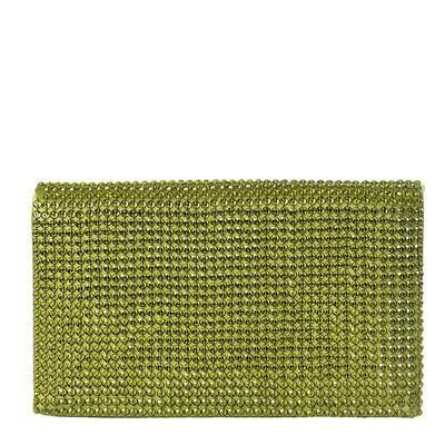 Green Satin Embellished Clutch