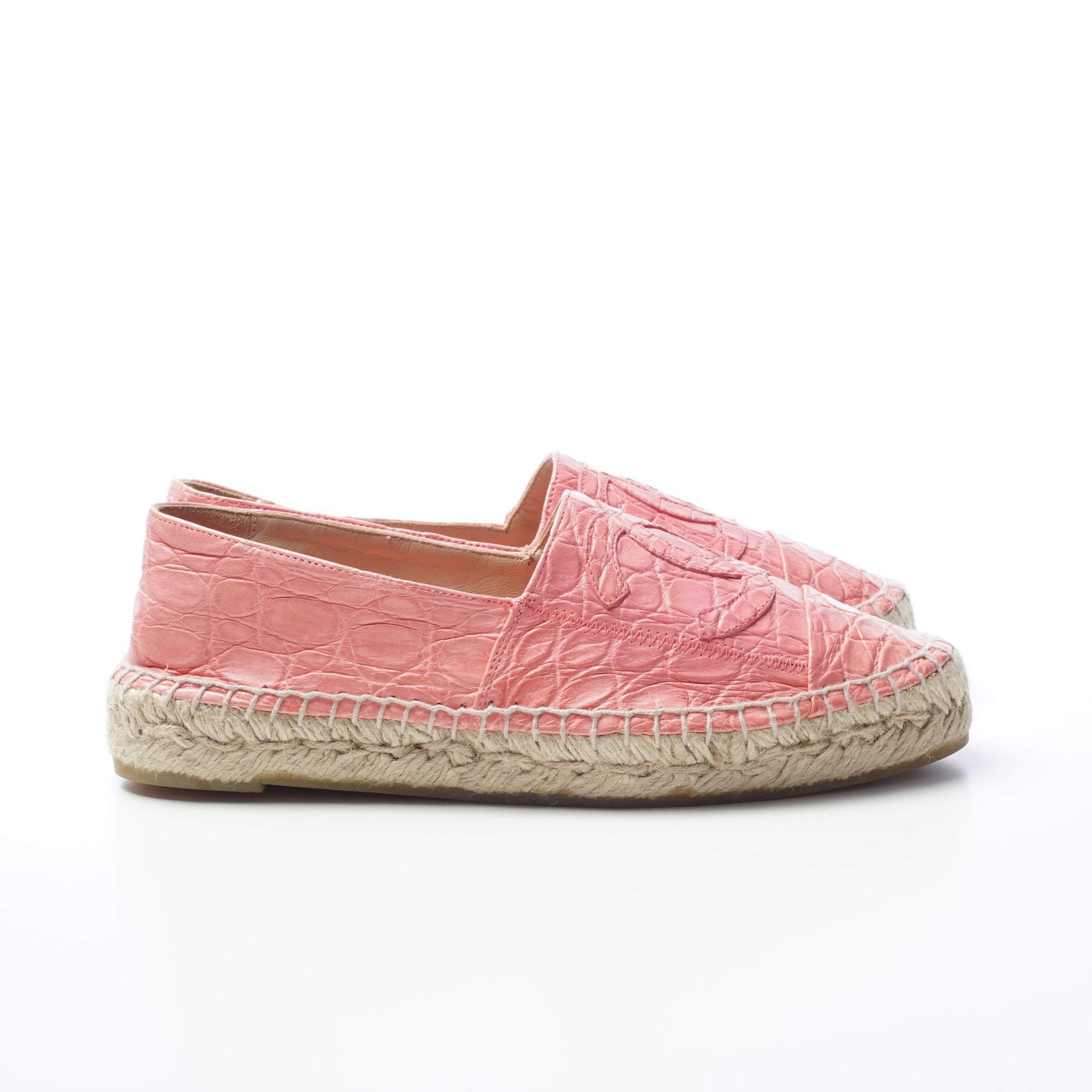 Chanel Pink Croc Embossed Wrinkle Effect Espadrilles