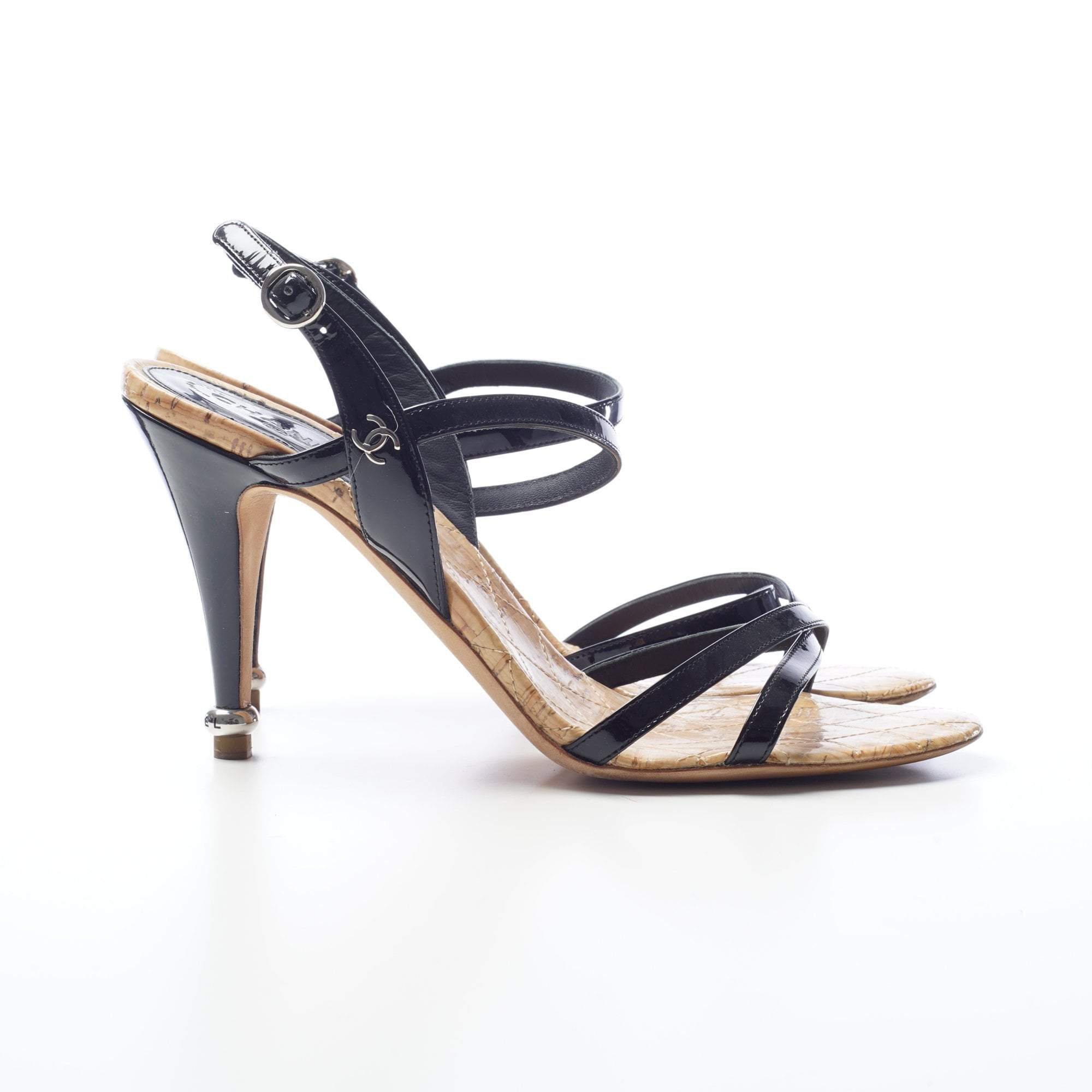 Chanel Black Patent Leather Strappy Heels