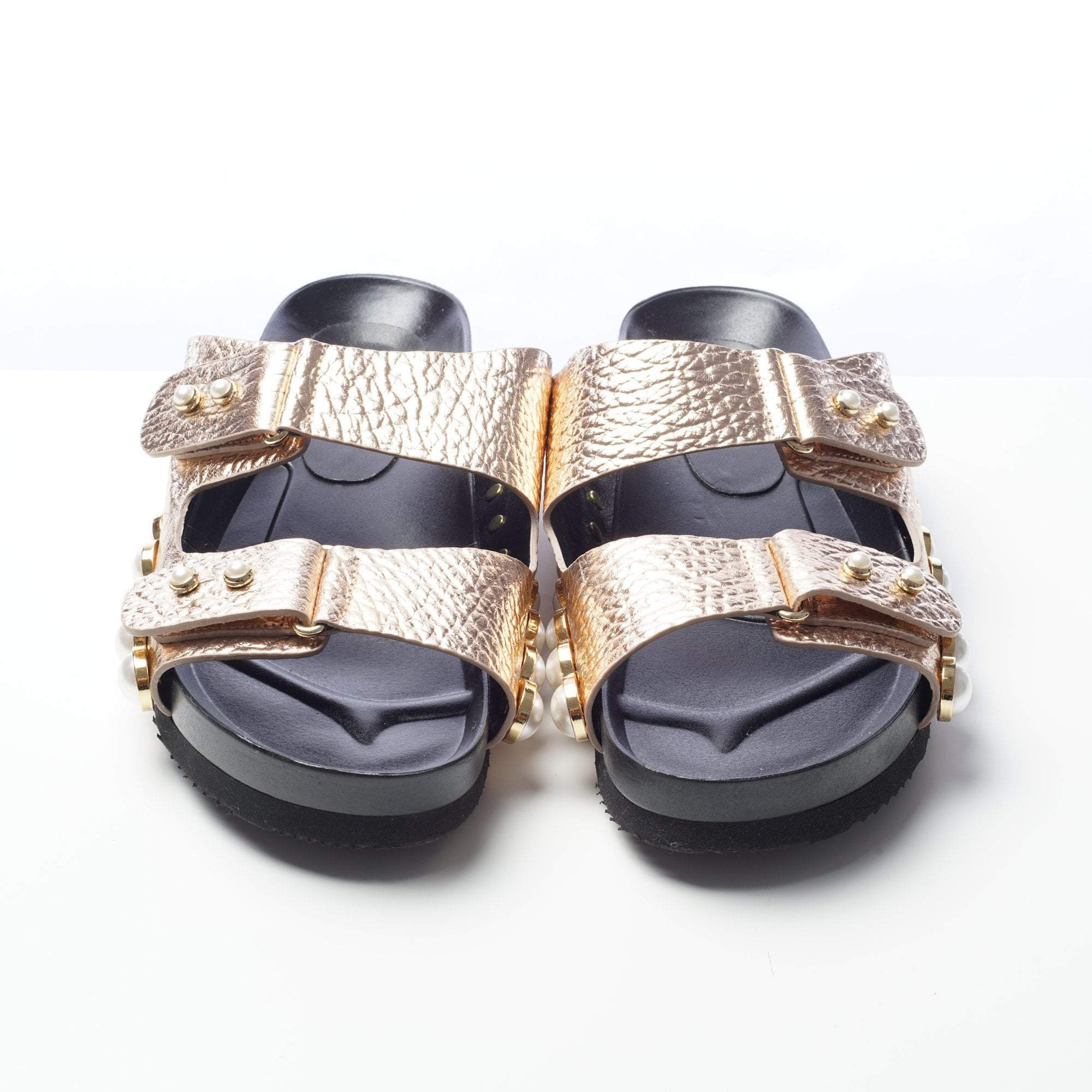 Suecomma Bonnie Two Band Cracked Rose Gold Leather Slippers