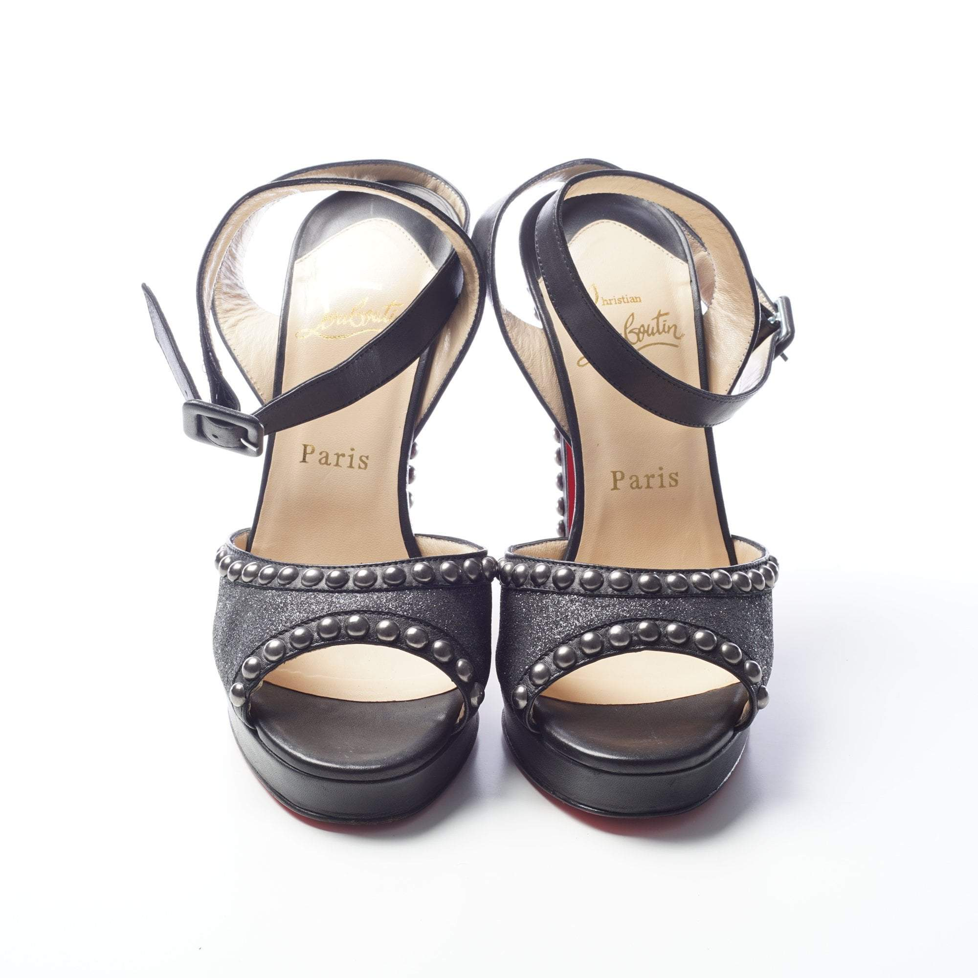 Christian Louboutin Black Leather Glitter Gun Metal Studded Heels