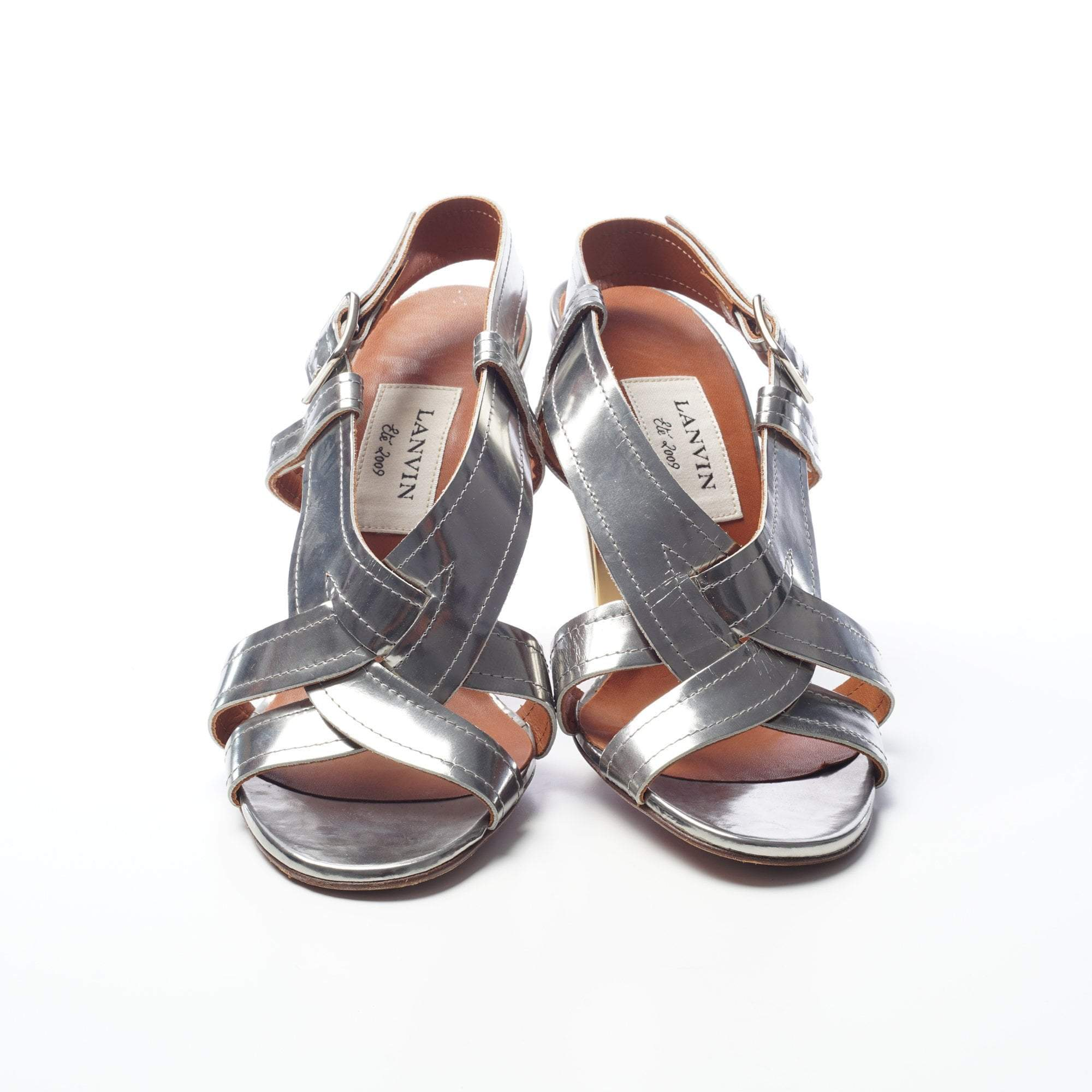 Lanvin Silver Metallic Patent Leather Strappy Cone Heel Sandal