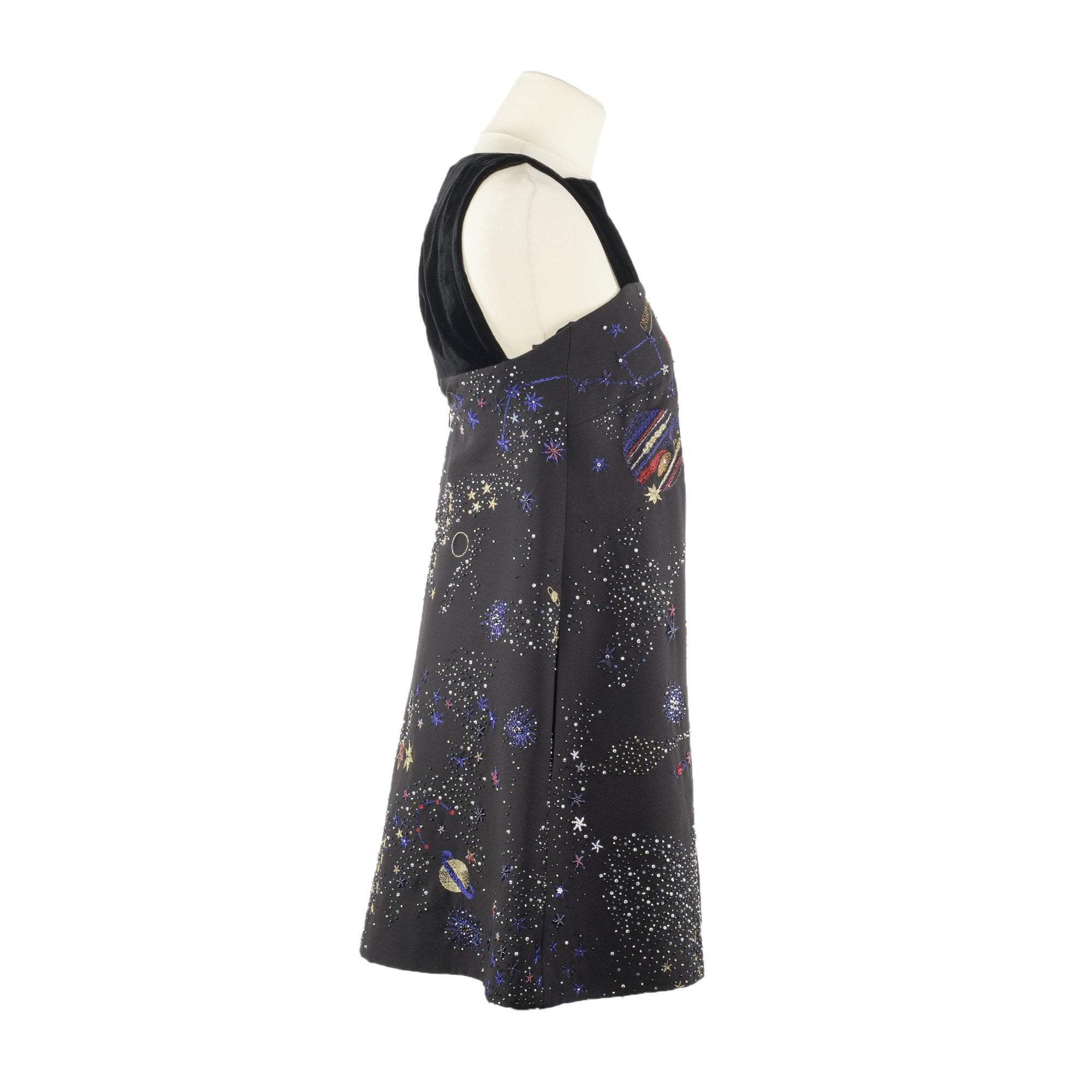 Valentino Cosmos Embroidered Sleeveless Dress