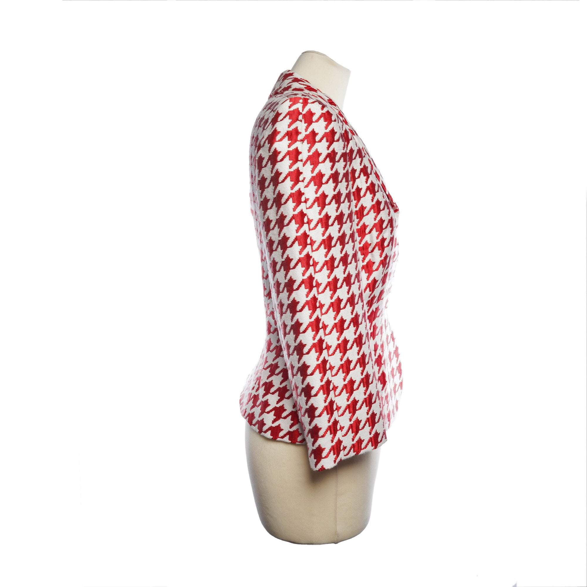 Carolina Herrera Red & White Houndstooth Blazer