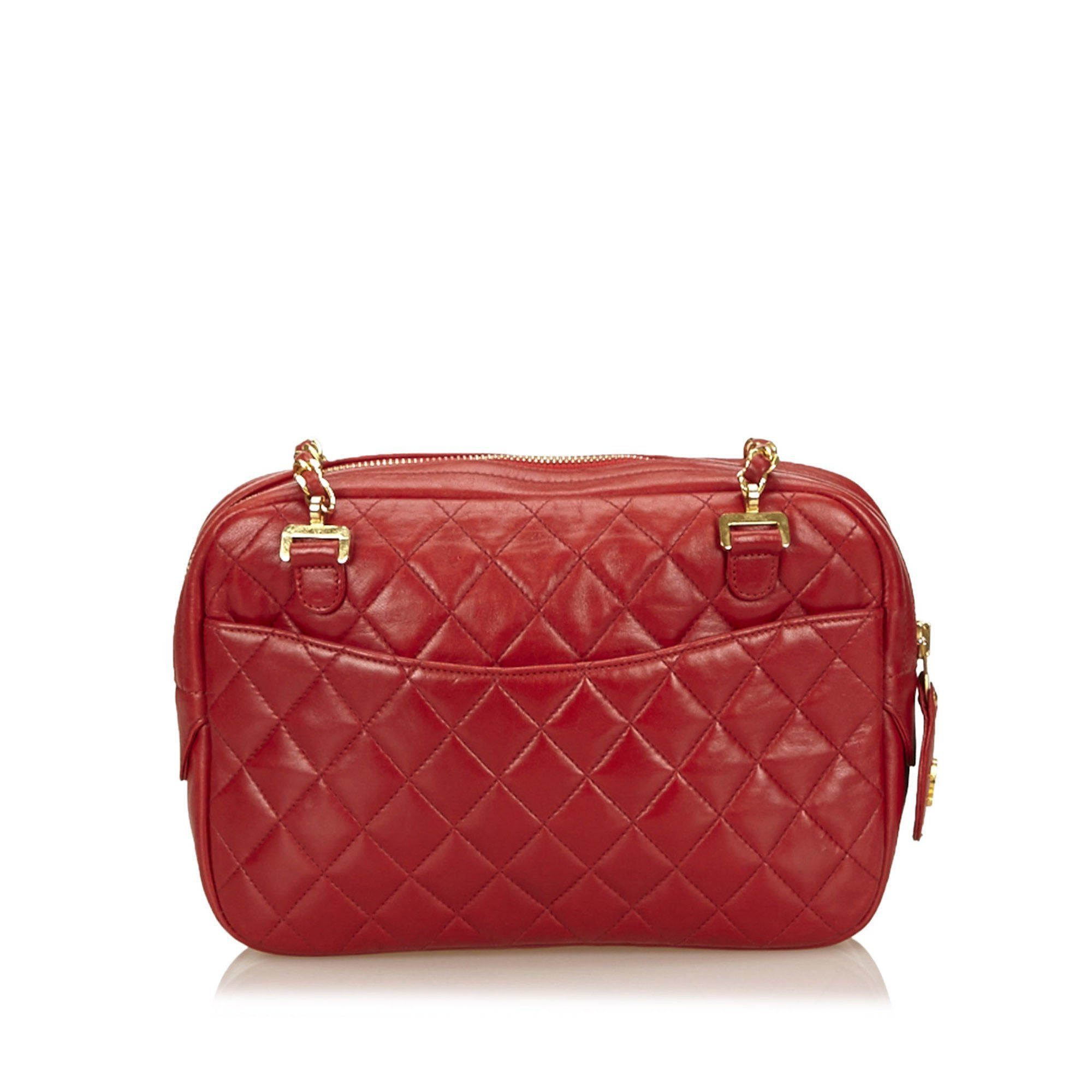 Vintage Quilted Lambskin Leather Shoulder Bag