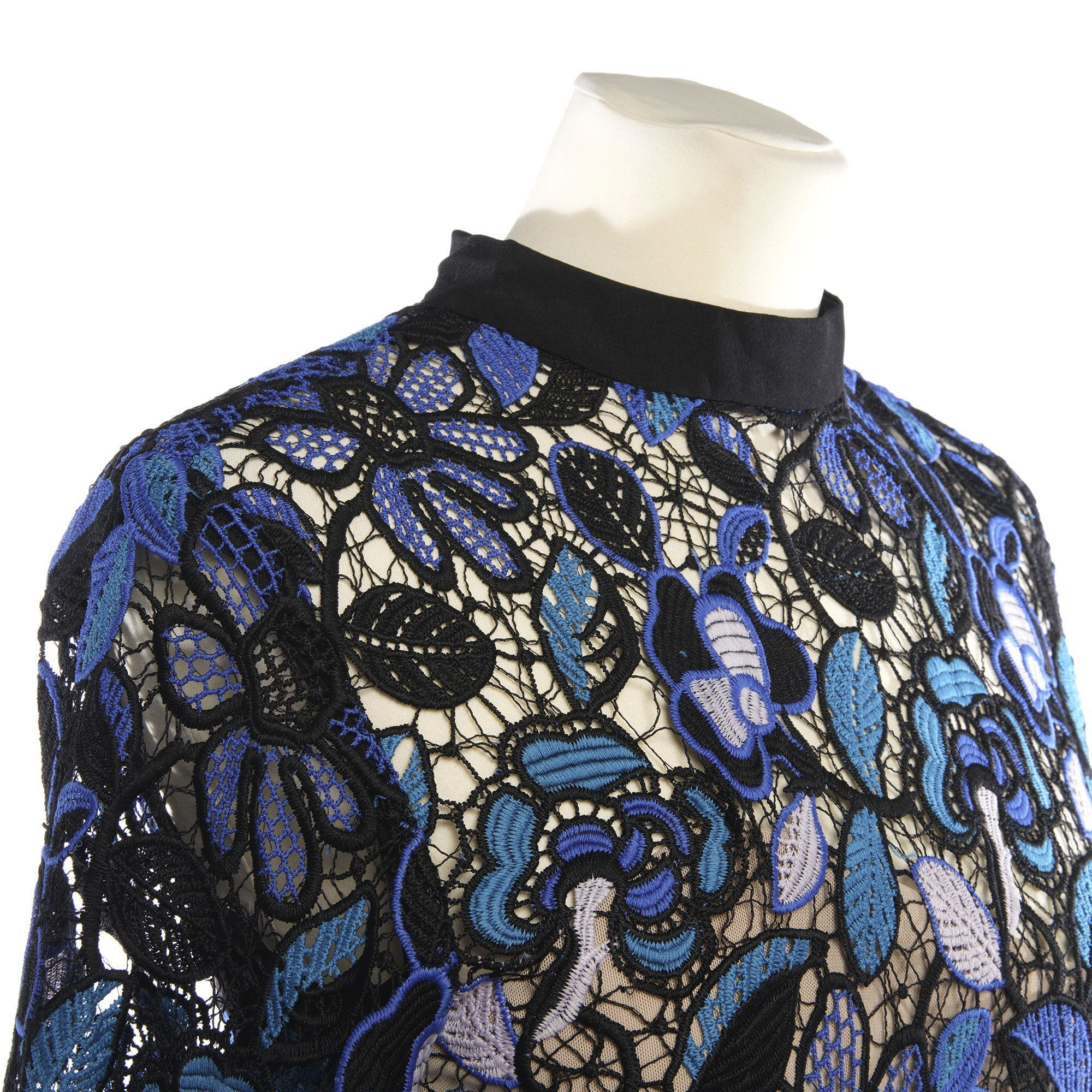 Self-portrait Black and Blue Embroidered Long Sleeve Top