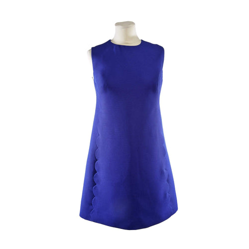 Valentino China Blue Scalloped Dress