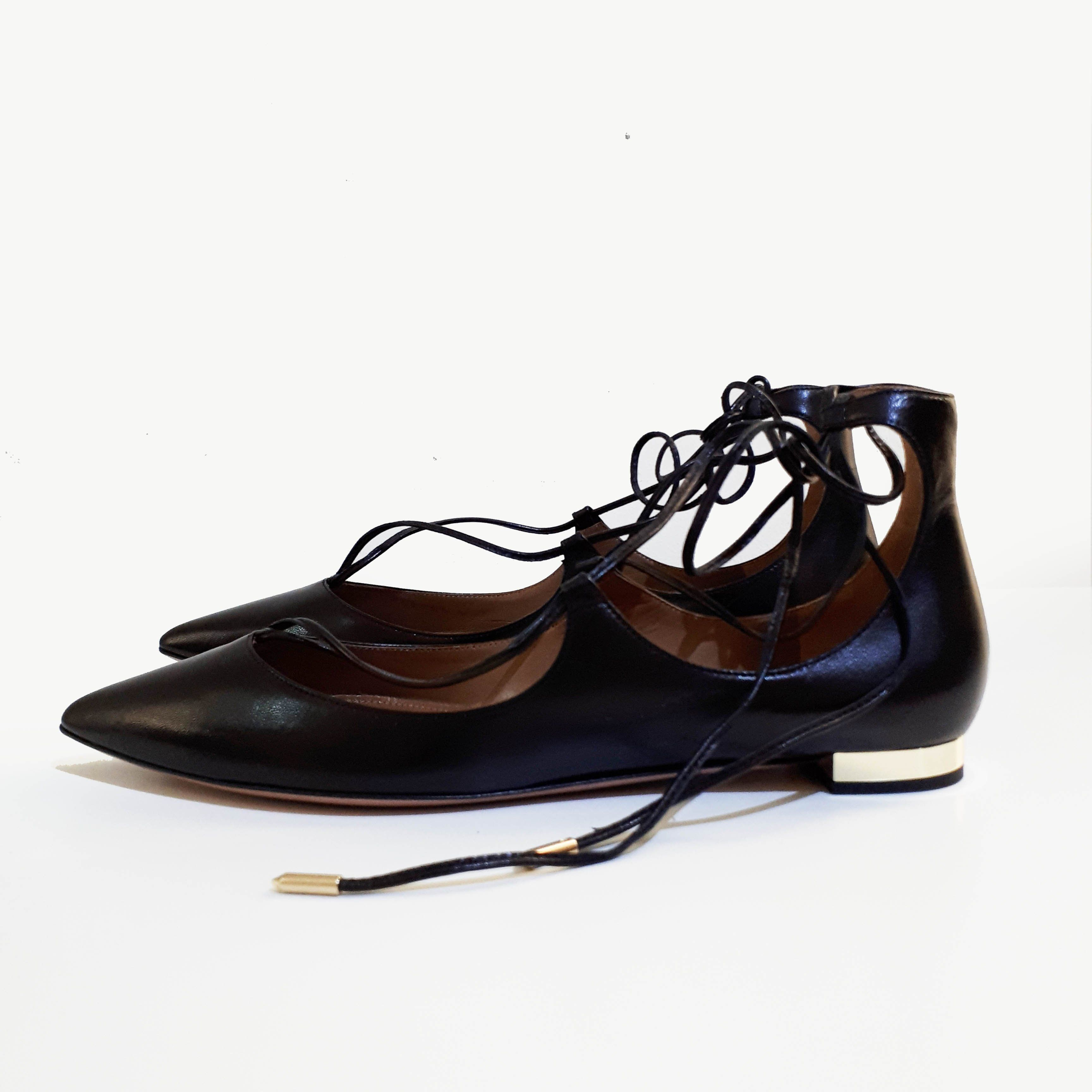 Aquazzura Pointed Toe Black Lace-up Flats