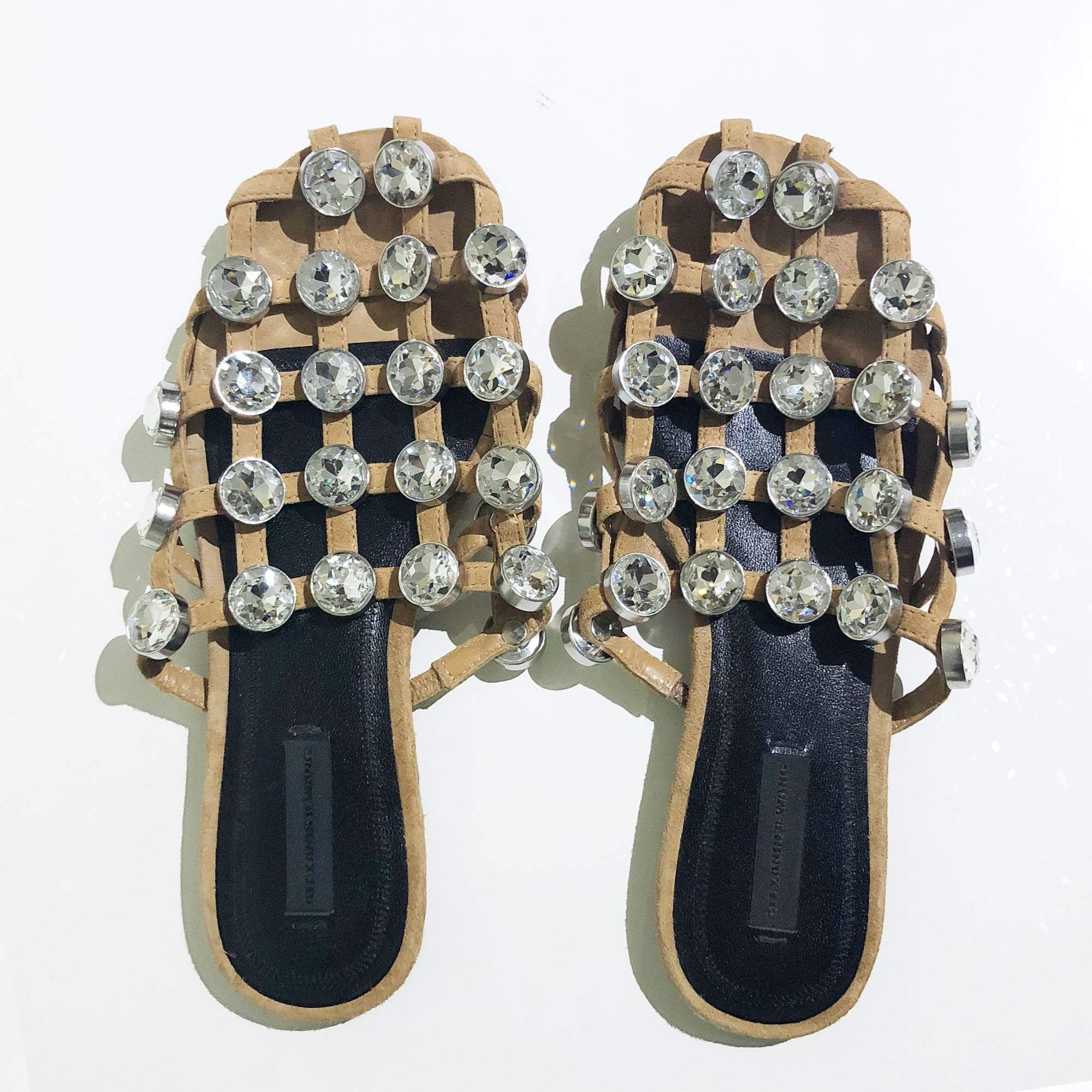 Alexander Wang Amelia Crystal Cage Suede Slippers