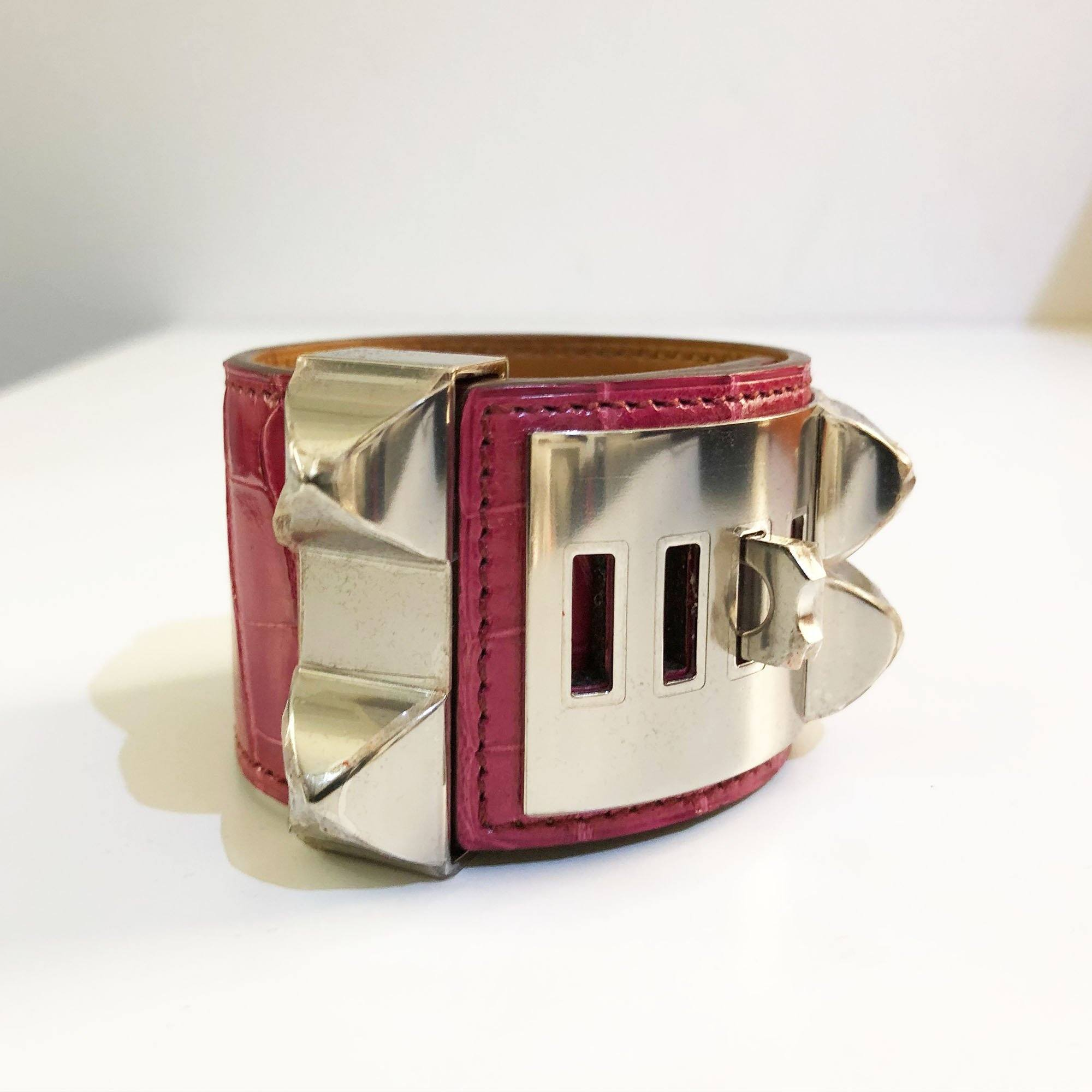 dog cuff chien products garderobe etoupe swift de alligator bracelet kelly collier silver hermes plated