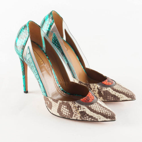 Aquazzura Positano Elaphe and PVC pumps